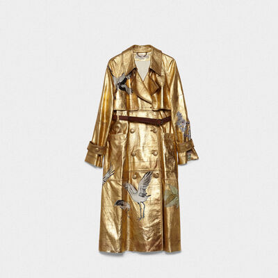 Masami trenchcoat in leather with prints