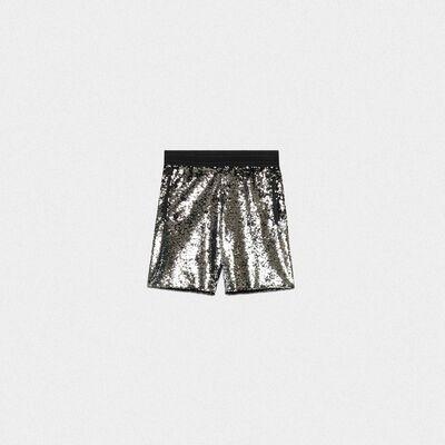 Shorts Cameron con paillettes argento e nere