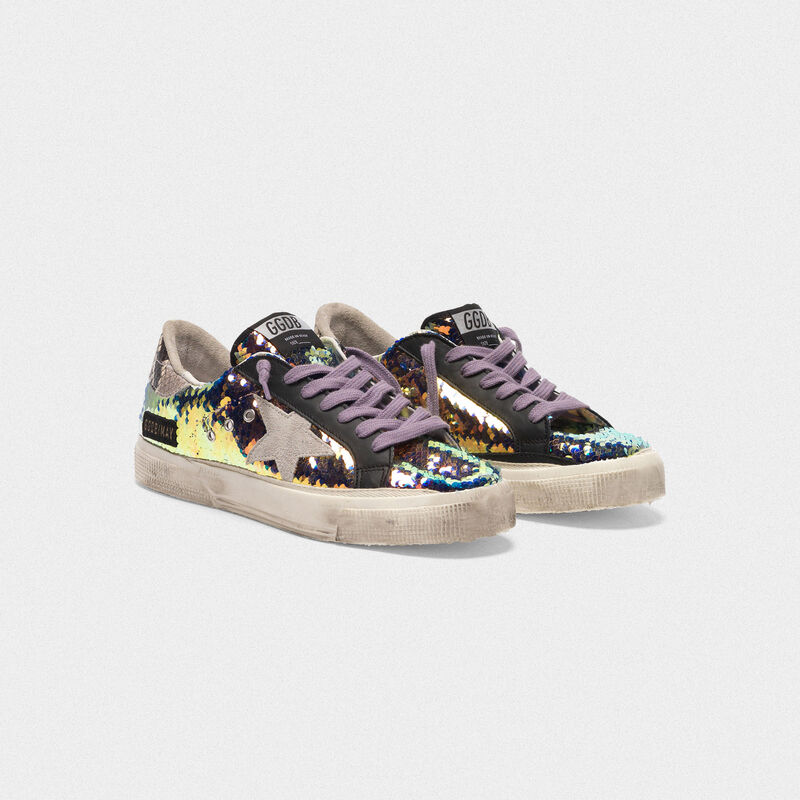 Golden Goose - Sneakers May con paillettes e talloncino stampa serpente in  image number null