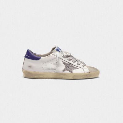 Zapatillas deportivas Superstar de piel con estrella de purpurina