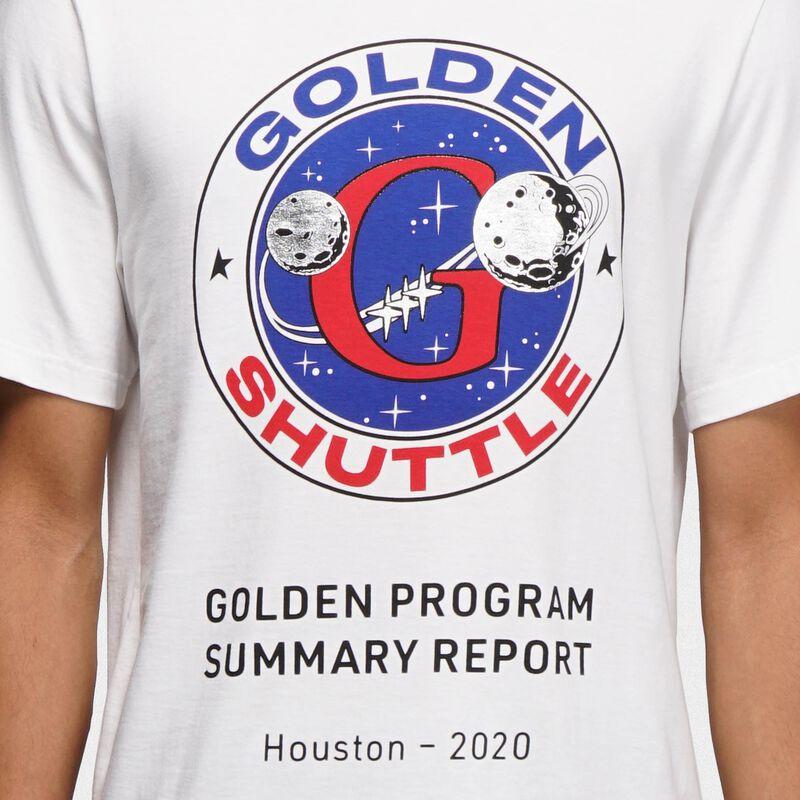 Golden Goose - White Golden T-shirt with Golden Shuttle print in  image number null