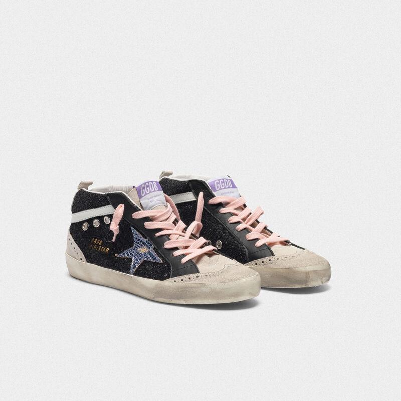 Golden Goose - Zapatillas deportivas Mid-Star negras con purpurina y estrella iridiscente in  image number null