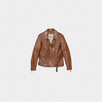 Yasu biker jacket in brown nappa leather with star print