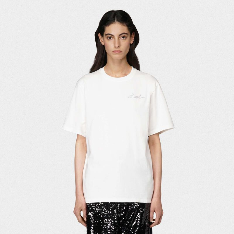 Golden Goose - White Golden T-shirt with Love embroidery in  image number null