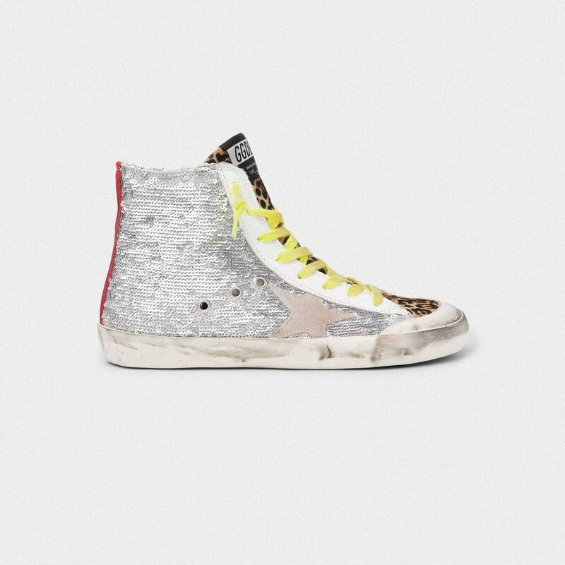 Golden Goose - Sneakers Francy con paillettes argento e cavallino leopardato in  image number null