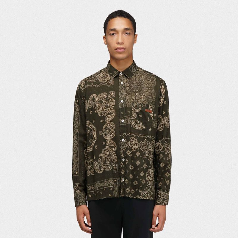 Golden Goose - Camicia Houston verde stampa bandana in  image number null