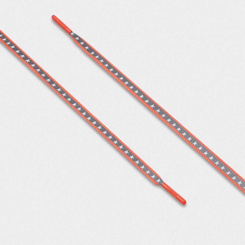 Golden Goose - Lacci uomo riflettenti arancio fluo con stelle   in  image number null