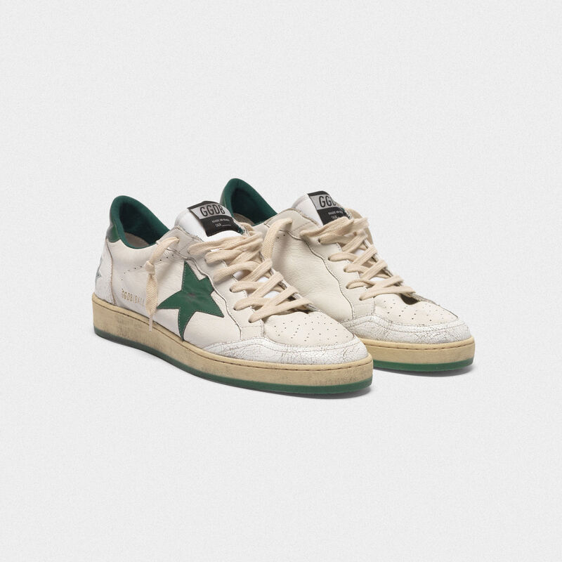 Golden Goose - Ball Star sneakers in white/green leather in  image number null