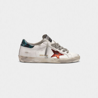 Superstar sneakers with star and snake-print heel tab