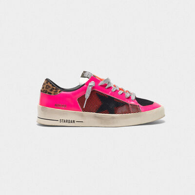 Stardan sneakers in fluorescent patchwork with leopard print heel tab