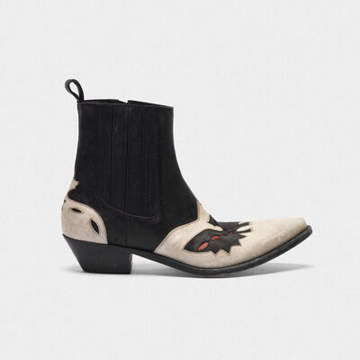 Austin ankle boots in black and white with eagle