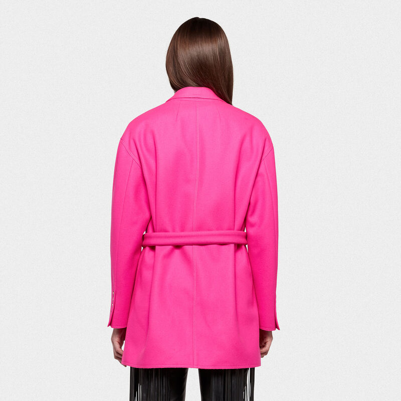 Golden Goose - Shion oversize jacket in wool with belt at the waist in  image number null