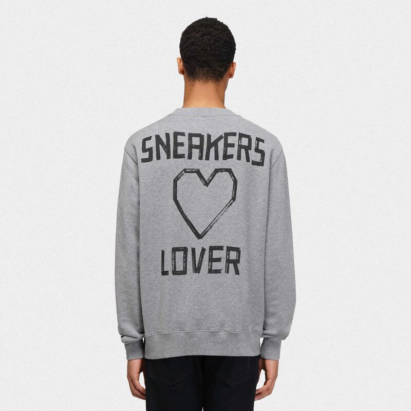 Golden Goose - Grey Golden sweatshirt with sneakers lovers print on the back in  image number null