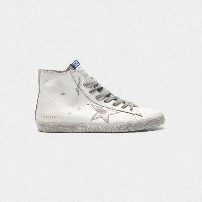 Sneakers Francy in pelle con stella in camoscio argentato