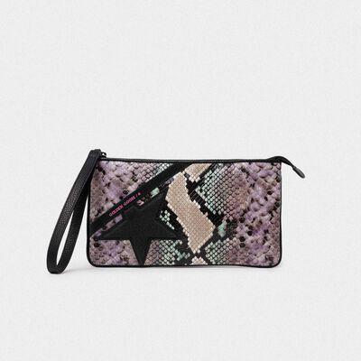 Star Wrist clutch bag with python print and glitter star