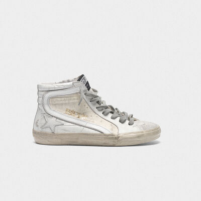White patchwork shades Slide sneakers