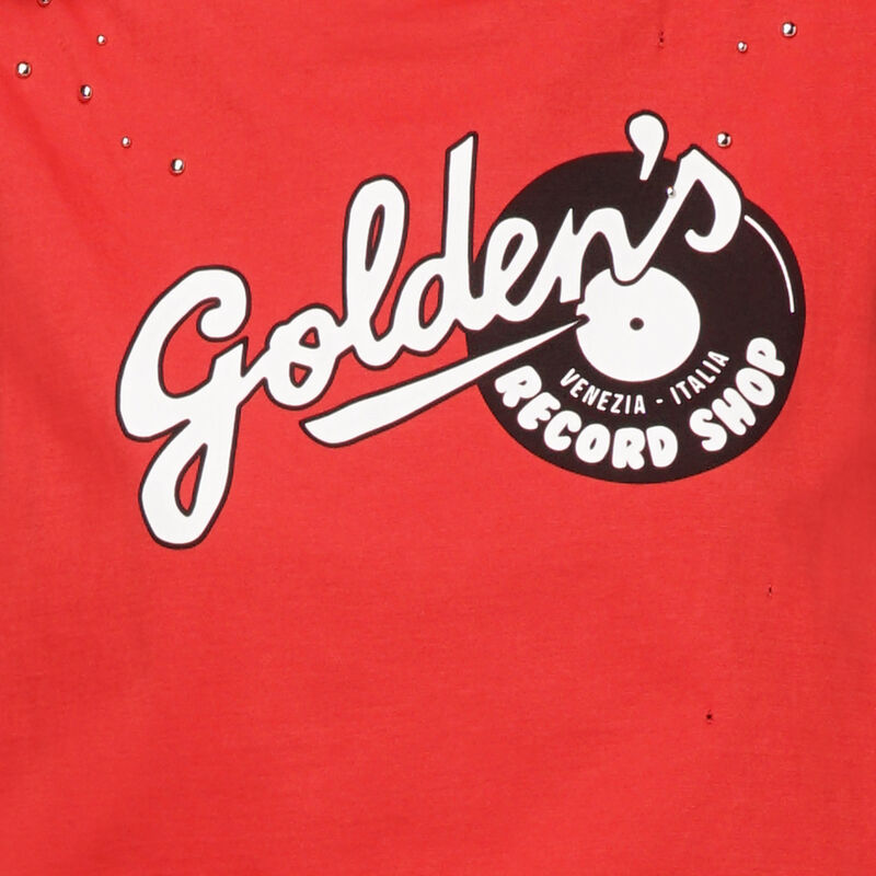 Golden Goose - T-shirt Marfa rossa smanicata stampa Golden in  image number null
