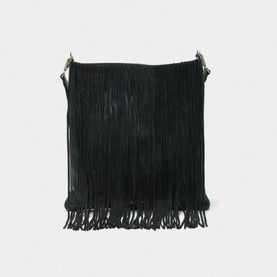 Carry Over Hobo bag in suede leather with fringe