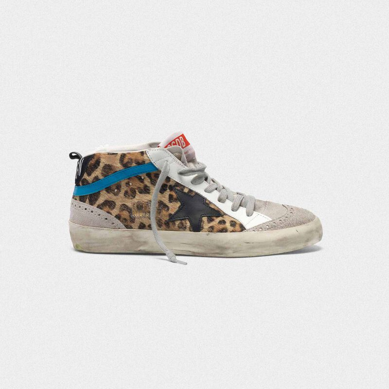 Golden Goose - Mid Star sneakers in leopard print pony skin in  image number null