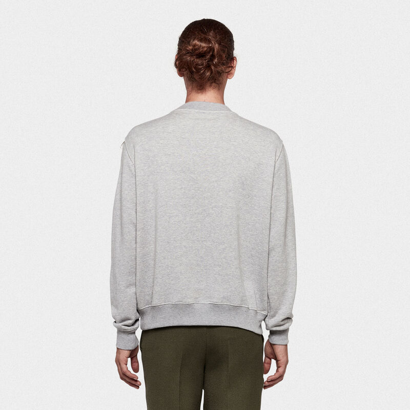 Golden Goose - Felpa Hisao in jersey di cotone stampa logo in  image number null