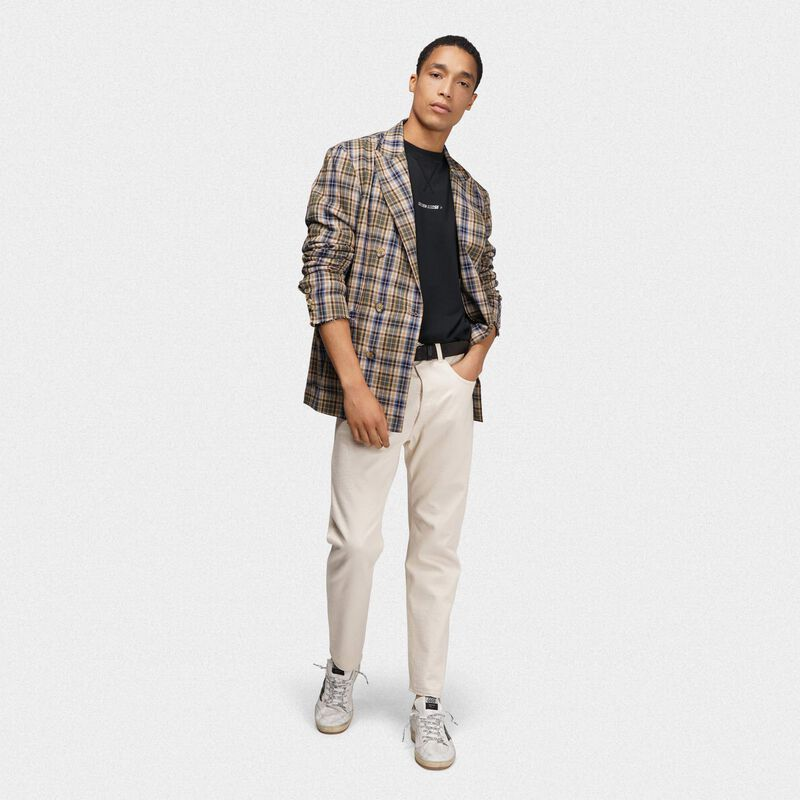 Golden Goose - Double-breasted Joshua jacket in checked madras in  image number null