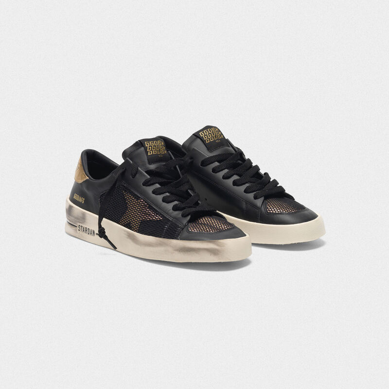 Golden Goose - Sneakers Stardan in pelle black&gold con inserti in mesh in  image number null