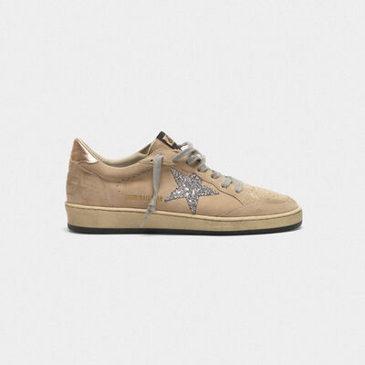 Ball Star sneakers in grey suede with glitter star