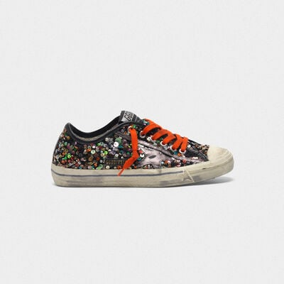 V-STAR sneakers with all-over sequins and metallic star