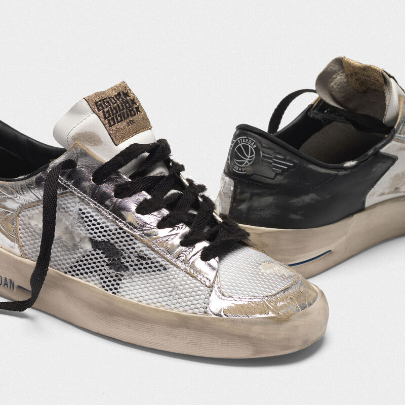 Golden Goose - Sneakers Stardan LTD argentate laminate con stampe in rilievo floreali in  image number null