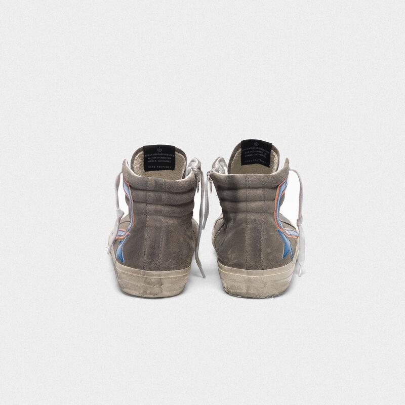 Golden Goose - Sneakers Slide grigie in suede dettagli blu elettrico in  image number null