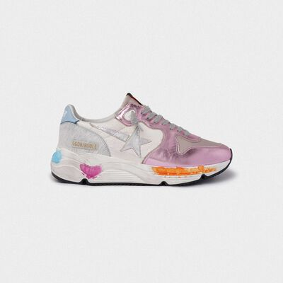 Running Sole sneakers in laminated pink with silver star