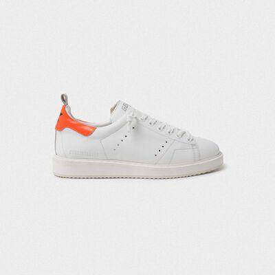 Sneakers Starter bianche con talloncino arancio fluo