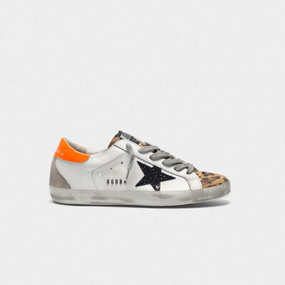 Superstar sneakers with leopard-print insert, glittery star and orange heel tab