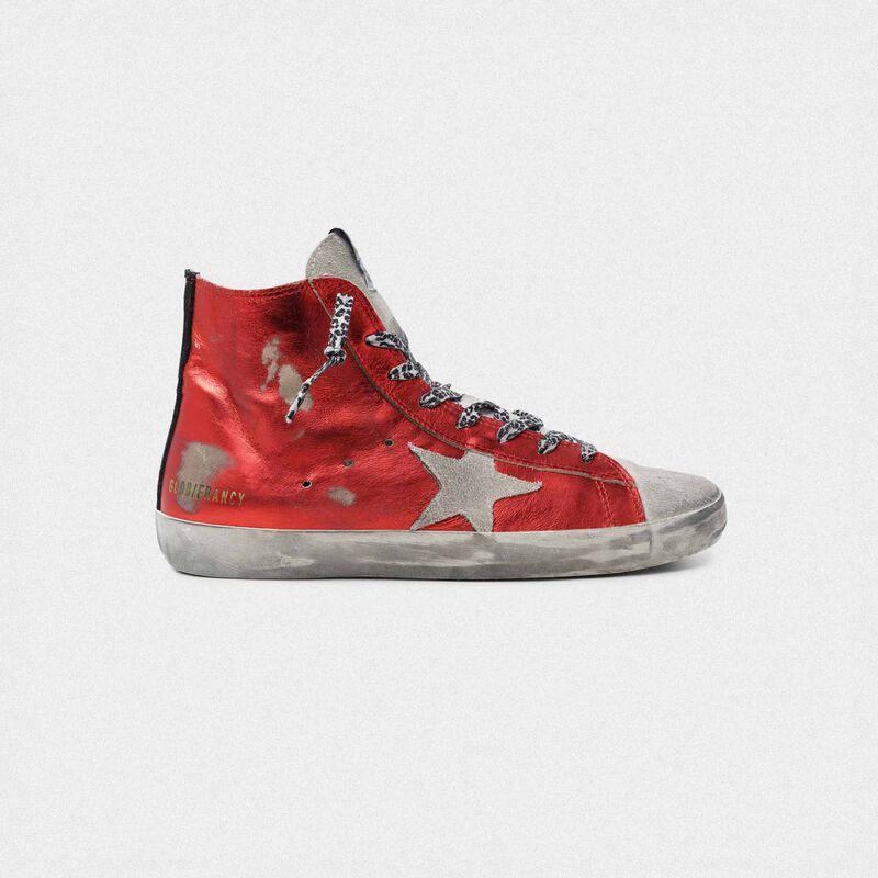 Golden Goose - Sneakers Francy in pelle rossa laminata e lacci leopardati in  image number null