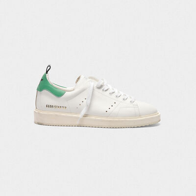 Starter sneakers in leather with green heel tab
