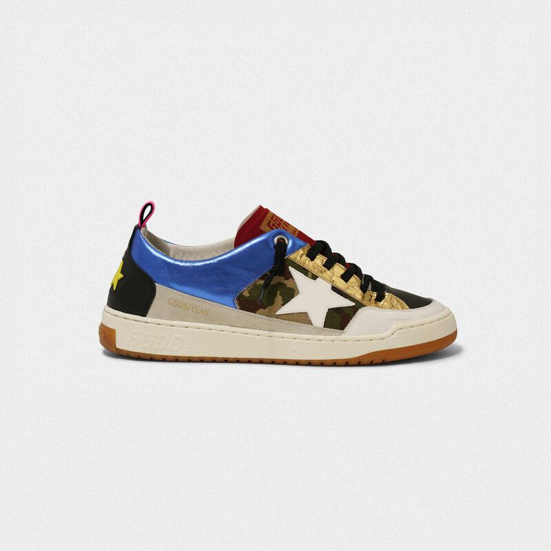 Golden Goose - Blue Yeah! sneakers with camouflage and white star in  image number null