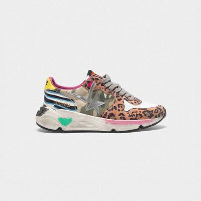 Sneakers Running Sole con tomaia animalier mix