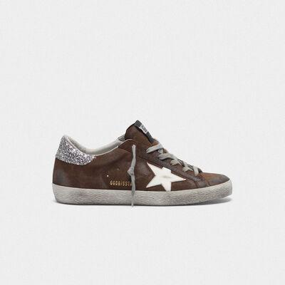 Sneakers Superstar scamosciate con talloncino glitter