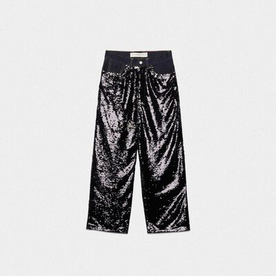 Breezy trousers with reversible sequins and denim