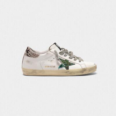 Sneakers Superstar con stella leopardata e talloncino stampa serpente