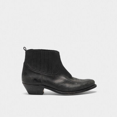 Crosby ankle boots in leather with cowboy-style decoration