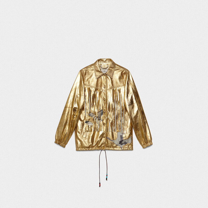 Golden Goose - Ayumi jacket in gold leather with patches and fringe in  image number null