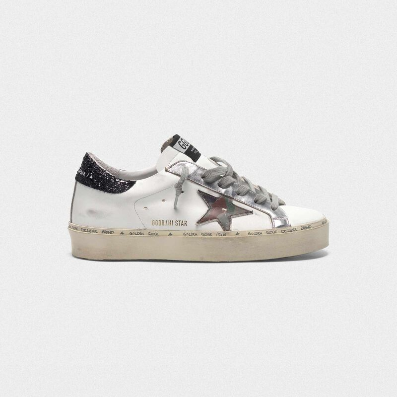 Golden Goose - Sneakers Hi Star con stella camouflage e talloncino glitter in  image number null