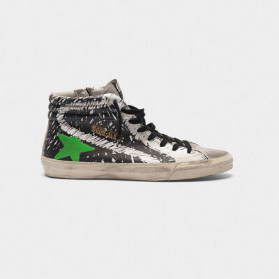 Slide sneakers in leather and suede with printed design
