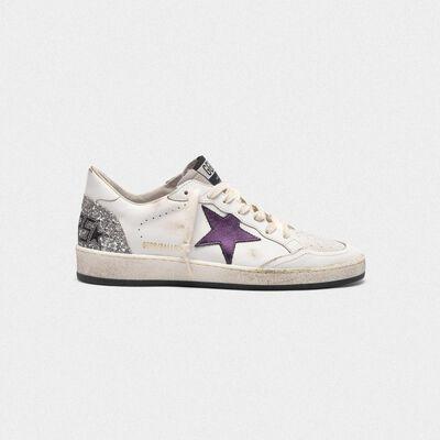 Sneakers Ball Star con stella viola metallizzata e retro con glitter