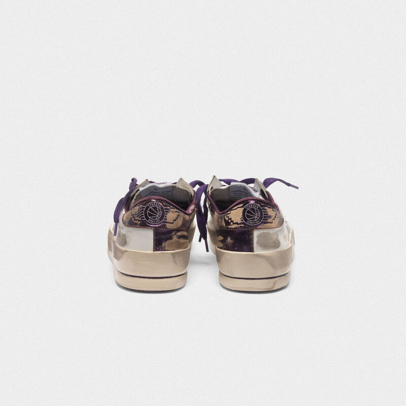 Golden Goose - Distressed white and purple Stardan LTD sneakers  in  image number null