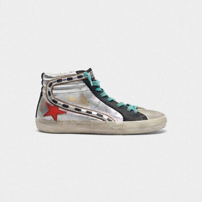 Slide sneakers in silver laminated leather with red star