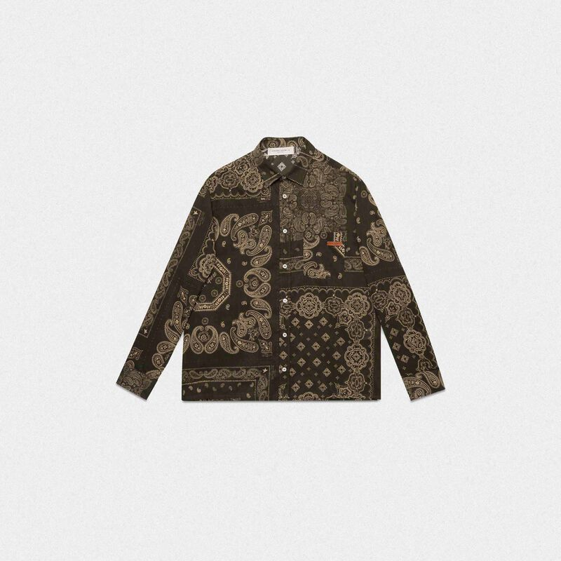 Golden Goose - Green Houston shirt with bandana print in  image number null