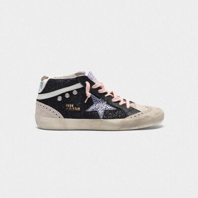 Black Mid-Star sneakers with glitter and iridescent star