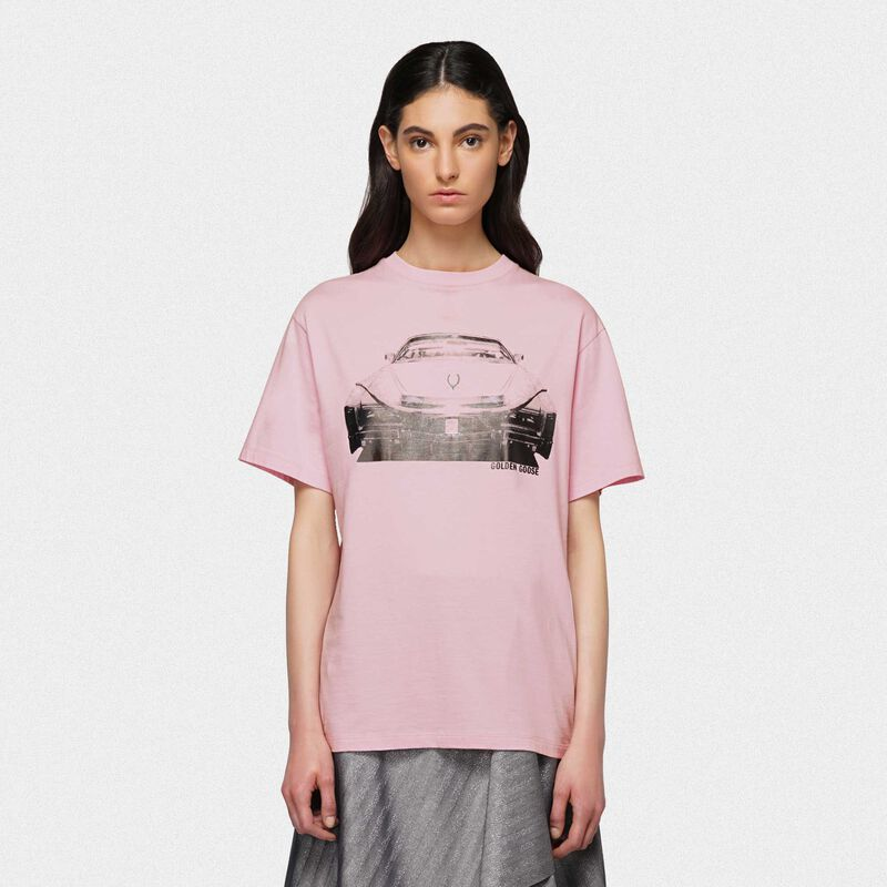 Golden Goose - Lilac Golden T-shirt with Cadillac print in  image number null
